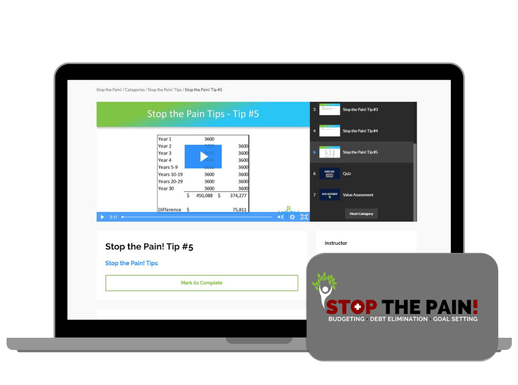 Stop fearing your financial future with Stop the Pain! course now